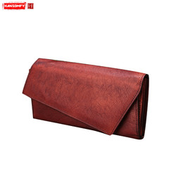 New retro simple Women clutch bag manual vertical long wallets toe cap genuine leather personality female card holder wallet