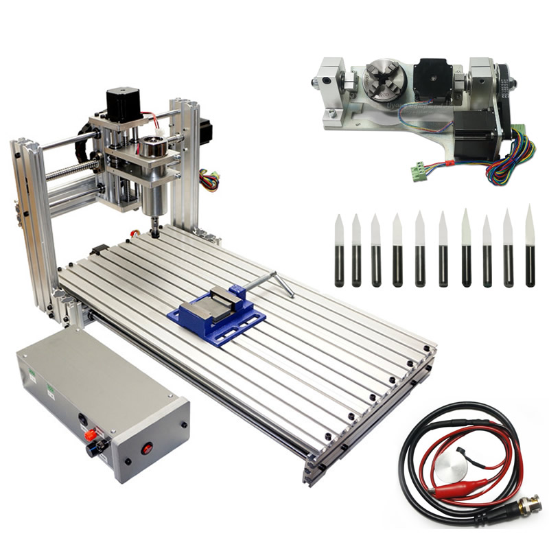 3D 5axis wood cnc milling machine 3060 pcb cutting engraver ball screw with drill bits tool knife setting