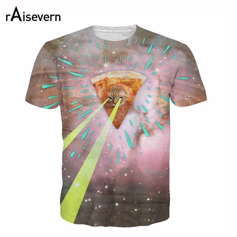 e72a7f65d Raisevern Cat Kitten T Shirt 3D Men Women Pizza Kitty Galaxy T-shirts  Summer Top