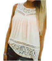 Summer Women Blouse Chiffon Shirts Crochet Lace Vest Sexy Open Back Sleeveless Shirt Tank Tops Blusas