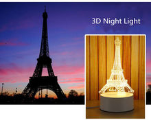 Multiple Eiffel Tower LED 3D Night Lamp Creative Ambient Light Table Lamp Home Lights Bulbing Color Change Luminaria Kids Gifts(China)