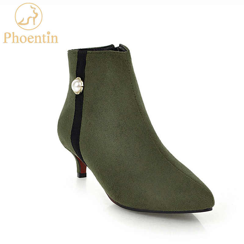 Womens Side Zip Elastic Kitten Ankle Boots Pointy Toe Buckle Strap Shoes Casual