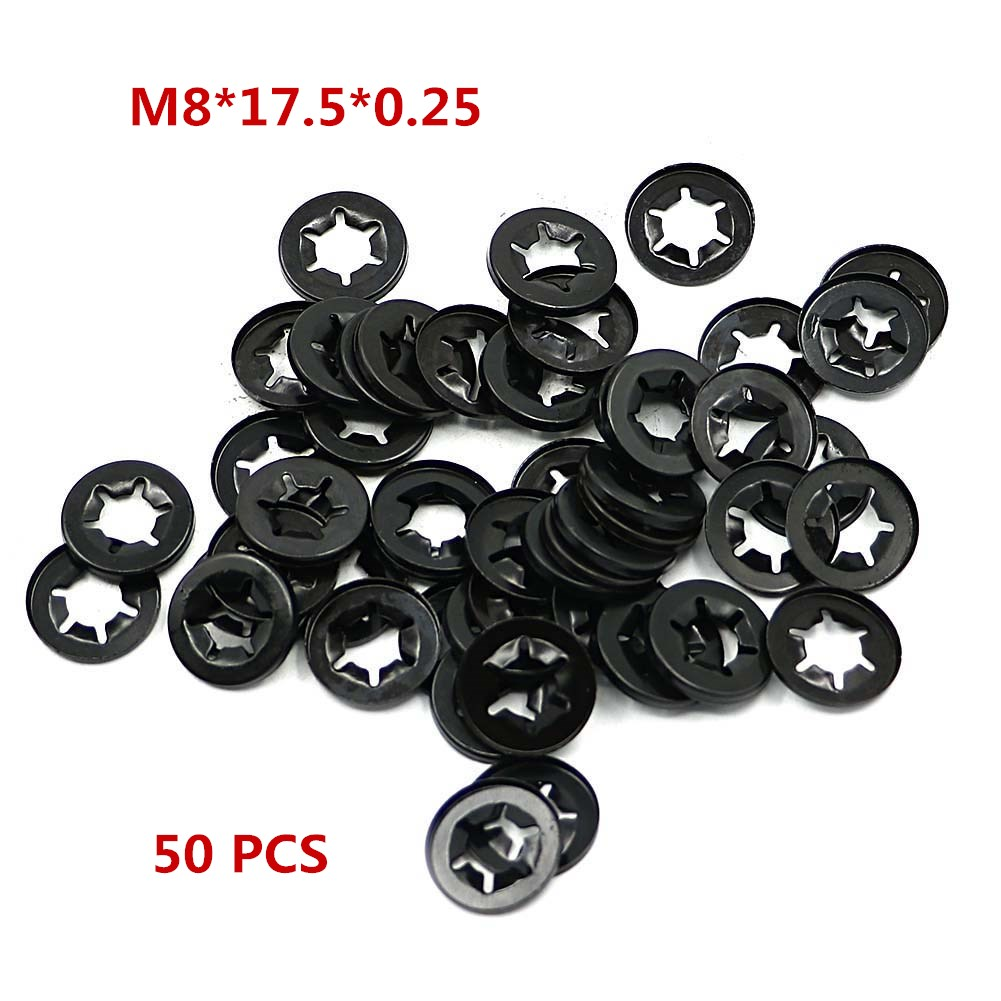 US $3 25 11% OFF|50PCS Push Nut Star Lock Washer Retainer Assortment Flat  Shaft Fastener Hardware Gasket Lock Locking M8*17 5*0 25-in Covers &