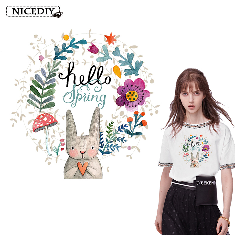 Nicediy Lovely Rabbit Iron On Transfers For Clothes Heart Patches Clothing Cute Animal Badge Decor