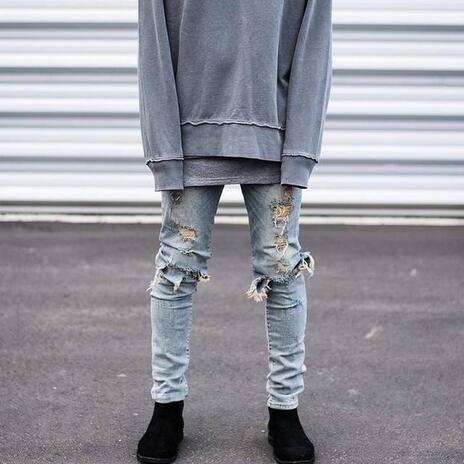 Hip Hop Hi-Street For Men Kanye West Ripped Biker Jeans Motorcycle Skinny Slim Fit Black Denim Pants Destroyed Swag Joggers 2017 skinny jeans men white ripped jeans for men fashion casual slim fit biker jeans hip hop denim pants motorcycle c141