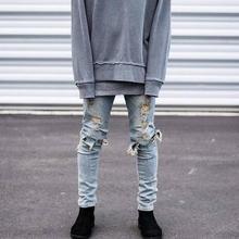Hip hop привет-улица для мужчин kanye west ripped байкерских джинсы мотоцикл тощий slim fit черный джинсовые брюки уничтожено хабар бегунов