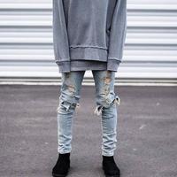 Hip Hop Hi-Street For Men Kanye West Ripped Biker Jeans Motorcycle Skinny Slim Fit Black Denim Pants Destroyed Swag Joggers