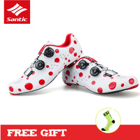 SANTIC Road Cycling Shoes Men Carbon Fiber Outsole Shoes For Bike White Self Locking Sports Bicycle Shoes Zapatillas Ciclismo