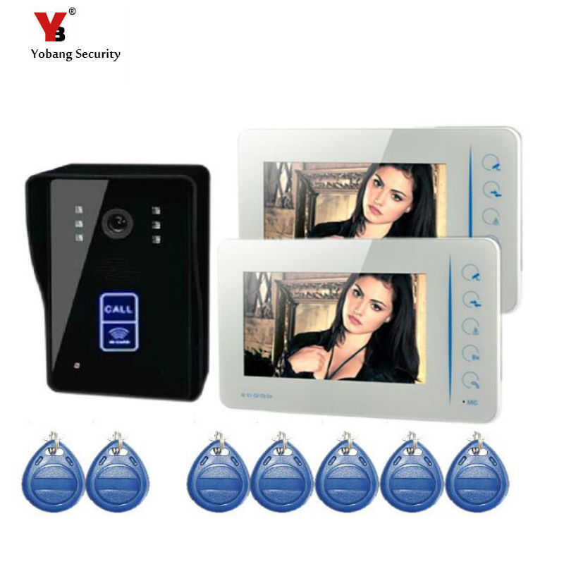 Yobang Security  7inch Video Intercom Monitor with RFID Card wired door bell access control system for office video doorbell 7 inch video doorbell tft lcd hd screen wired video doorphone for villa one monitor with one metal outdoor unit rfid card panel