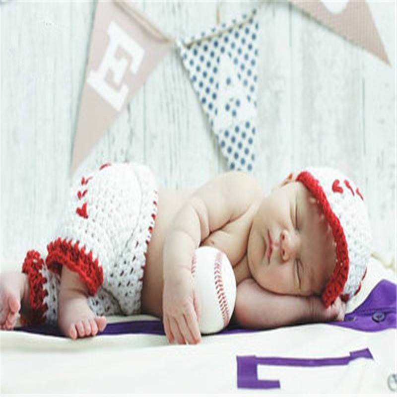 2018 Newborn Baby Photography Prop Photo Crochet Outfits Knit Baby Pants and Hat 0-6 Months Newborn Fotografia Accessories