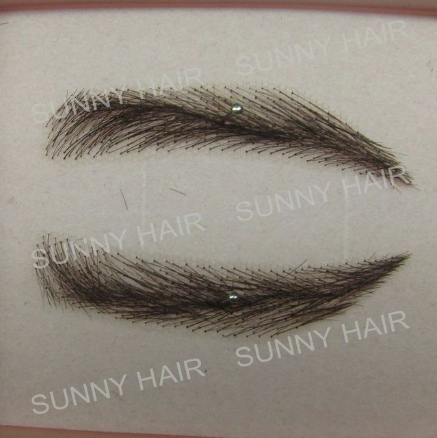 EB014 invisible swiss lace relastic hand made human hair false eyebrow black 1B color 1
