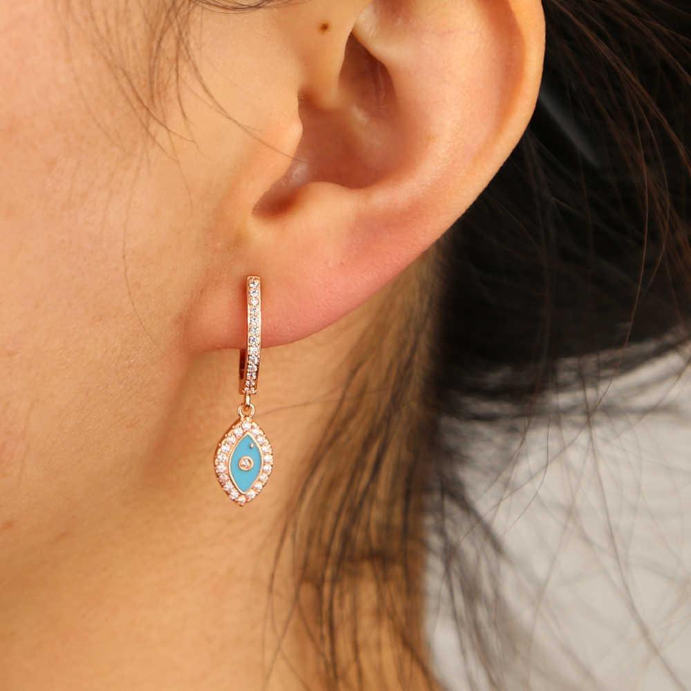 คลาสสิก Charm ตุรกี Evil Eye Drop ต่างหูสำหรับหญิงสาวสีฟ้าสีแดงสีขาวสีดำ 4 สี Silver Rose Gold multi สไตล์เครื่องประดับ