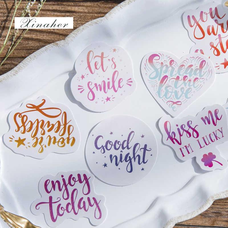 45 stks/doos Kleurrijke stemming Engels brief papier sticker decoratie stickers DIY voor craft dagboek scrapbooking planner label sticker