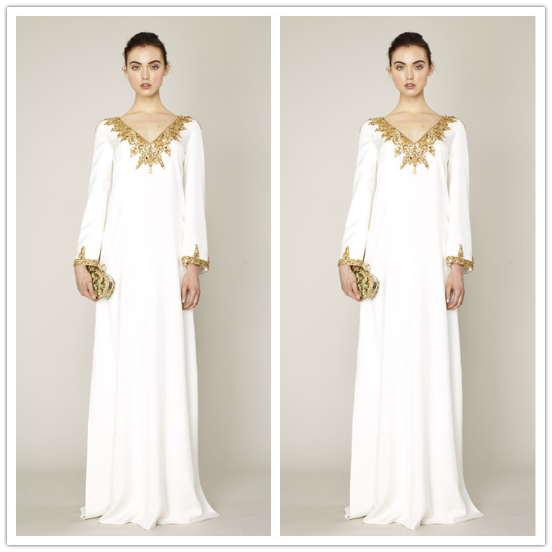 Muslim evening dress 2015 dubai kaftan sequins charm v for White kaftan wedding dress