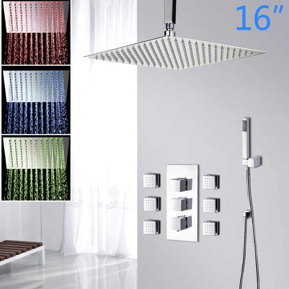 16 Inch LED Shower Head Wall Mounted Square Style Chrome Brass Waterfall Shower Set Rainfall Bathroom Shower Kit Hand Shower good quality wall mounted square style brass waterfall shower set new bathroom shower with handle rainfall shower head