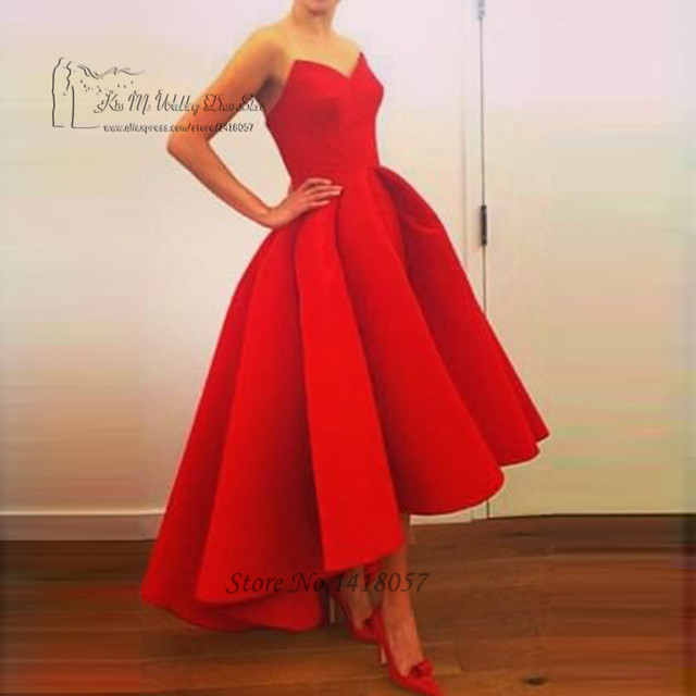 Cabido Red Vestidos Curtos Prom Alta Como Cetim Comprimento Chá Vestido de festa Curto Frente Vestidos de Noite 2016 Vestido de Festa Curto