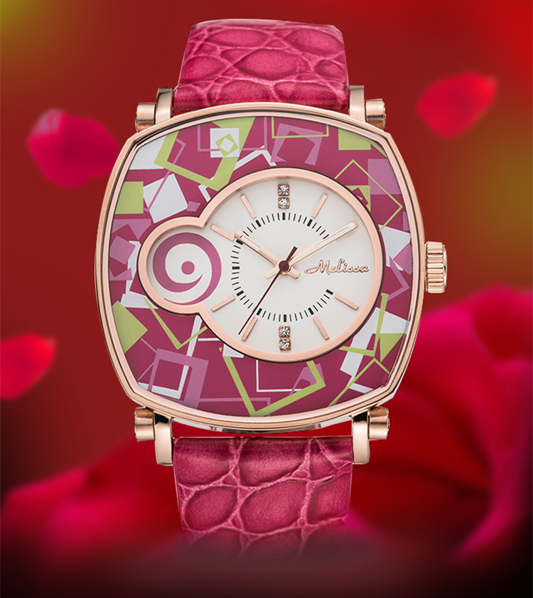 Reloj de pulsera de cuero neutro para mujer con patrones geométricos de nuevo diseñador de melisa Vintage cuadrado Feminino Montre F12190