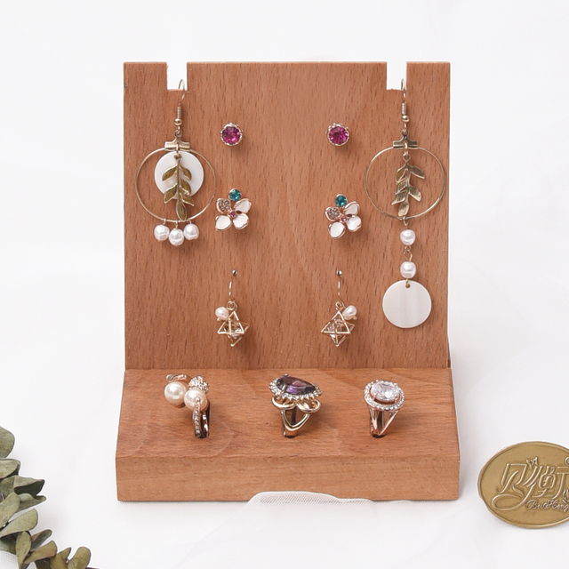 Solid Wood Earrings Ring Display Holder Jewelry Rack Stand