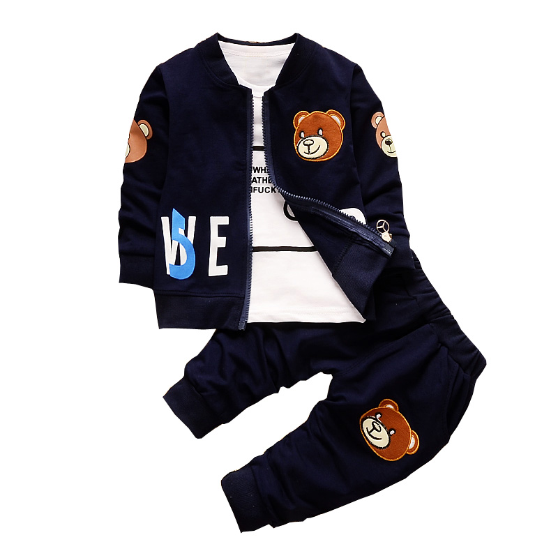 BibiCola Baby Boy Clothing Sets Kids 3PCS Coat+T-shirt+Pants Children Clothes For Spring Autumn Bebe boy Outfits Bib Tracksuit cotton baby boy clothes spring baby clothing sets roupas bebe long sleeve children clothing fashion kids clothes t shirt pants