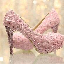 Новые Элегантные Сладости Розовый Кружева Свадебная Обувь Супер Высокий Каблук Платформа Свадебная Обувь Размер 34-39 Партия Стилет Каблук насосы