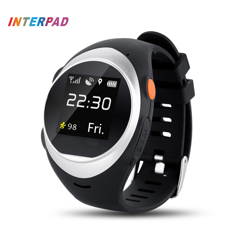 Interpad GPS Tracking Smart Watch Elderly Anti-lost Wrist Watch Cellphone Support SIM Card Pedometer Smartwatch For Android IOS jaysdarel m26 bluetooth smart watch for android ios sync phone call pedometer anti lost wrist smartwatch pk gt08 dz09 gv18 u8