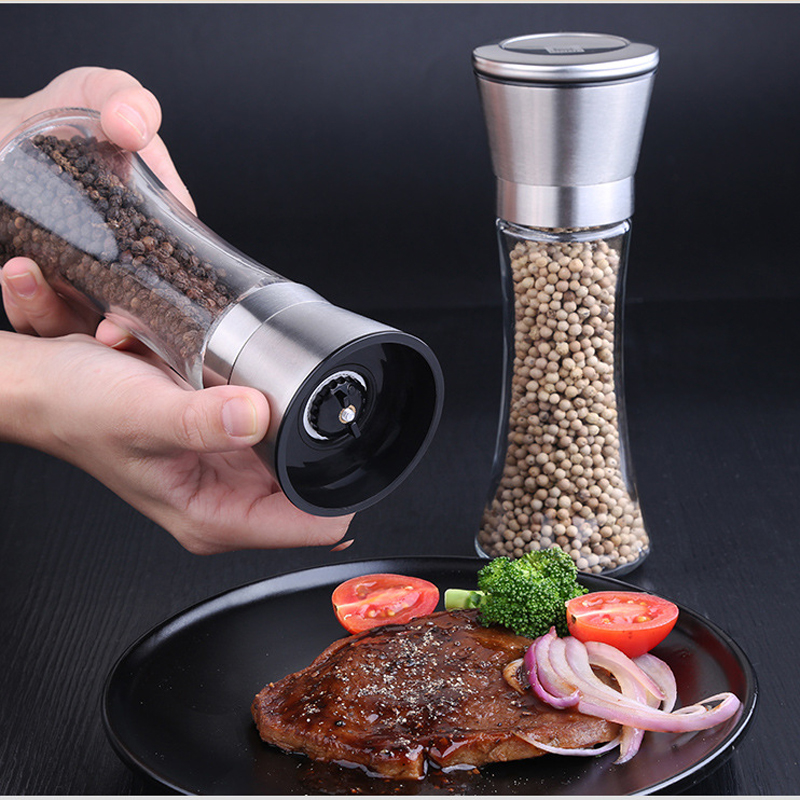 2pcs Seasoning Kitchen Tools Salt Pepper Mill Spice Grinder Kitchen Accessories Portable Muller for Spice
