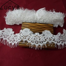 6CM width high quality handmade corded lace trim 3 meters/piece wedding veil bridal shawl  off white eyelash trimming NEW!