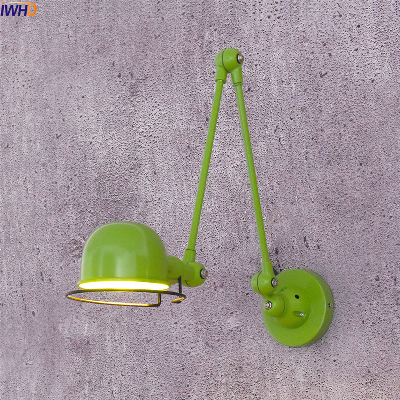 IWHD Red Vintage Industrial Wall Lamp Loft Edison Led Wall Light Iron Rocker Arm Wandlamp Retro Fixtures Home Lighting Luminaire iwhd swing arm sconce vintage wall lamp loft retro glass lampshade wandlamp black iron led wall light up down lighting stairs