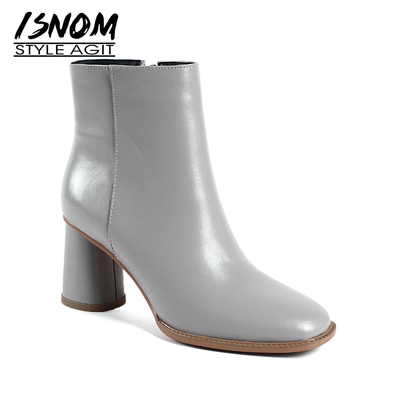 ISNOM New Genuine Leather Women Ankle Boots Square Toe Zip Footwear Office Female Boot Round High Heels Shoes Woman 2018 Winter women ankle boots handmade genuine leather woman boots autumn winter round toe soft comfotable retro boot shoes female footwear