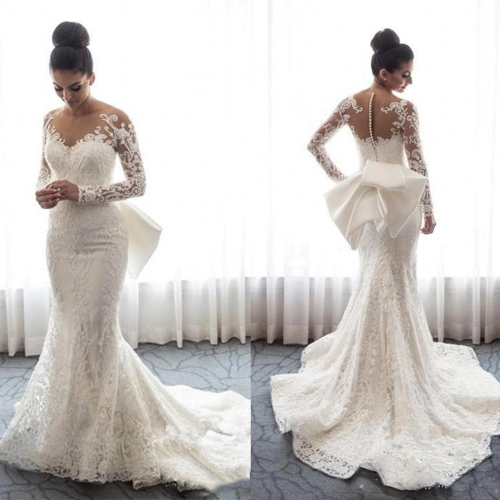 2019 Sheer Long Sleeves Lace Mermaid Wedding Dresses Tulle Applique Wedding Bridal Gowns With Detachable Skirt Vestido de noiva