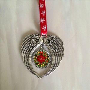 Image 1 - Material de impresión de transferencia en caliente, 10 unids/lote, sublimación, Navidad, forma de alas de Ángel, consumibles personalizados en blanco