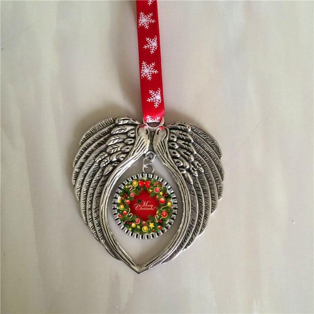 Material de impresión de transferencia en caliente, 10 unids/lote, sublimación, Navidad, forma de alas de Ángel, consumibles personalizados en blanco