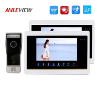 Free Shipping 720P AHD Motion Detection 7 Video Intercom Door Phone Unlock System 2 Record Monitors