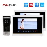 Free Shipping 720P AHD Motion Detection 7 Video Intercom Door Phone Unlock System 2 Record Monitors
