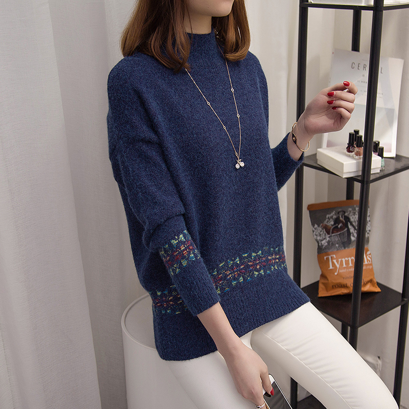 Camisa de manga larga suéter suéter mujeres suelta de punto suéteres de cuello a