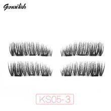 Genailish Magnetic eyelashes 4pcs/pair 3D False Eyelashes magnet lashes Handmade for Beauty Makeup KS05-3