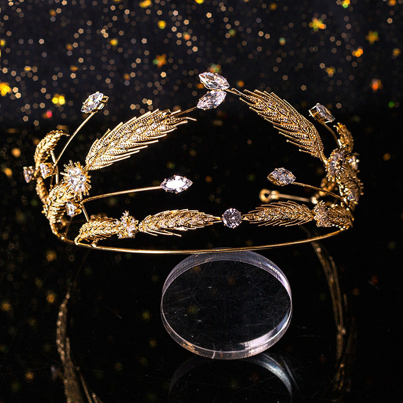 HIMSTORY Sparkling Crystal Wedding Hair Accessories Brides Gold Wheat Royal Princess Cubic Zircon Hairbands Queen Tiaras Crowns in Hair Jewelry from Jewelry Accessories