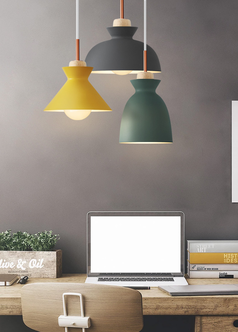 Modern furniture pendant lights bedroom bedside personality bar creative restaurant iron blue yellow green pendant lamps FG466 modern iron 3heads yellow gray blue pendant light study macarons restaurant bar inline chandel lighting pendant lamps za925435
