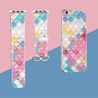 Designer Original Colorido Losango Moda Estilo da Banda para o Relógio 38mm 42mm Banda para Iwatch Maçã Presentes Cinta para Caso Do IPhone
