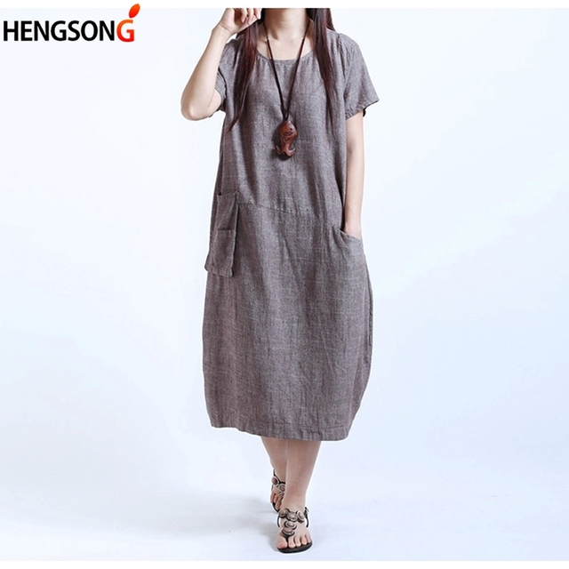 9884f91ce1 6XL Chinese Style Women Dress Female Ladies Oversized Dress Plus Size  Cotton Linen Dress With Pockets Summer Casual Loose Dress
