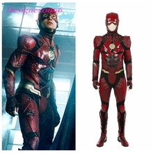 The Flash Season  Barry Allen Flash Cosplay Costume Carnival Halloween Costumes for adult Men Flash costume Helmet + gloves цена