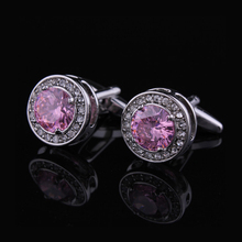 DY New High-end Cufflinks Luxury Design Silver Fashion Men's Shirts Cuff Button Round Trendy Purple Crystal Cufflinks Whlesale dy new high end cufflinks luxury design silver fashion men s shirts cuff button round trendy purple crystal cufflinks whlesale
