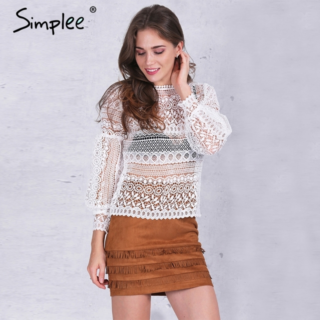 Simplee White lace blouse shirt women top Casual hollow out lantern sleeve pink blusas Autumn elegant geometry cool blouse 2016