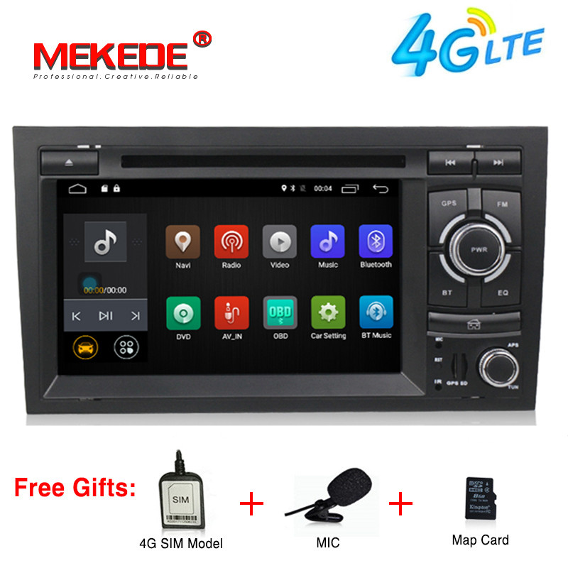 Quad Core Android 7.1 GPS Radio Car DVD Player For Audi A4