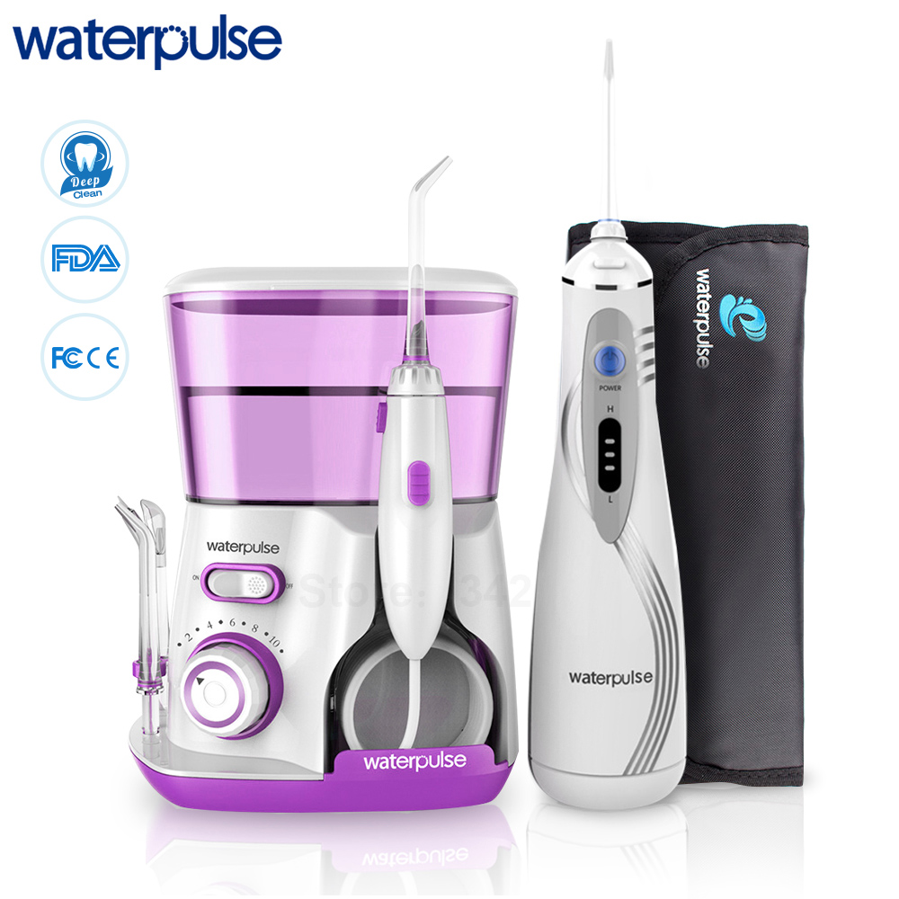 Waterpulse V300 V400Plus Water Flossers Set With 9 Tips Electric Oral Irrigator Dental Flosser Hygiene Oral