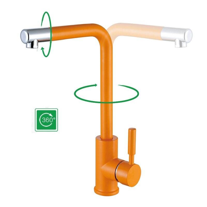 Laiton cuisine évier robinet Orange Antique décor 360 Rotation robinets de cuisine eau chaude et froide mélangeur robinet créatif Chrome robinets - 2