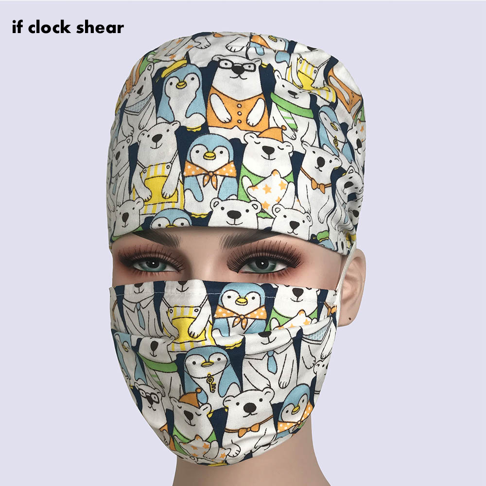 IF Surgical Caps Scrub Caps For Women And Men Hospital Medical Hat Print Cat In Black Tieback Elastic Section Dentist Pharmacy