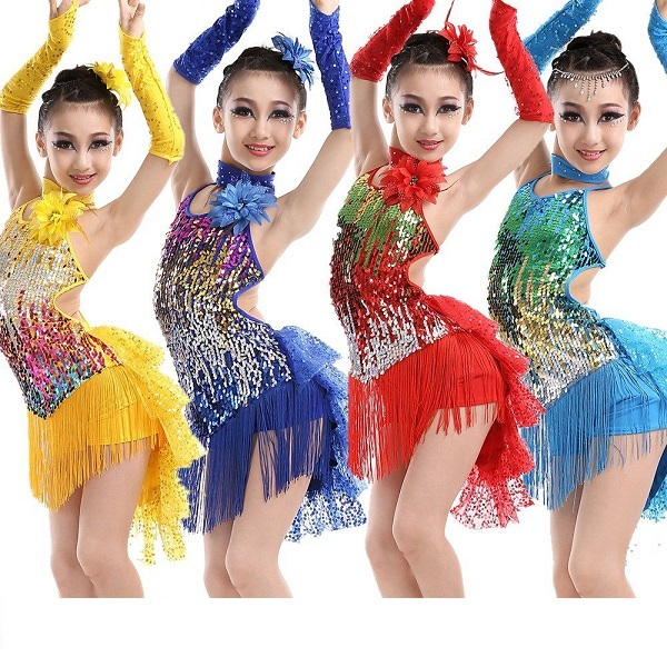 581c079ef04f5 Aliexpress.com : Buy sequin fringe dress dance gold latin competition  costumes for girls salsa dresses with tassels samba clothing children  ballroom ...