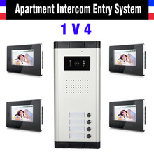 Apartment Intercom System 7 Inch LCD 4 Apartment Color Video Door Phone Intercom System Video Intercom