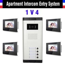 Apartment Intercom System 7 Inch LCD 4 Apartment Color Video Door Phone Intercom System Video Intercom Door Bell Door Phone